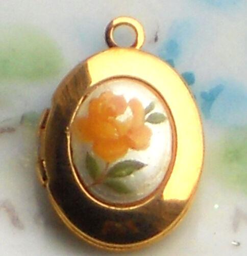 #658R  Vintage Locket Limoges Yellow Rose Oval Little Girl Child Gold Tone NOS