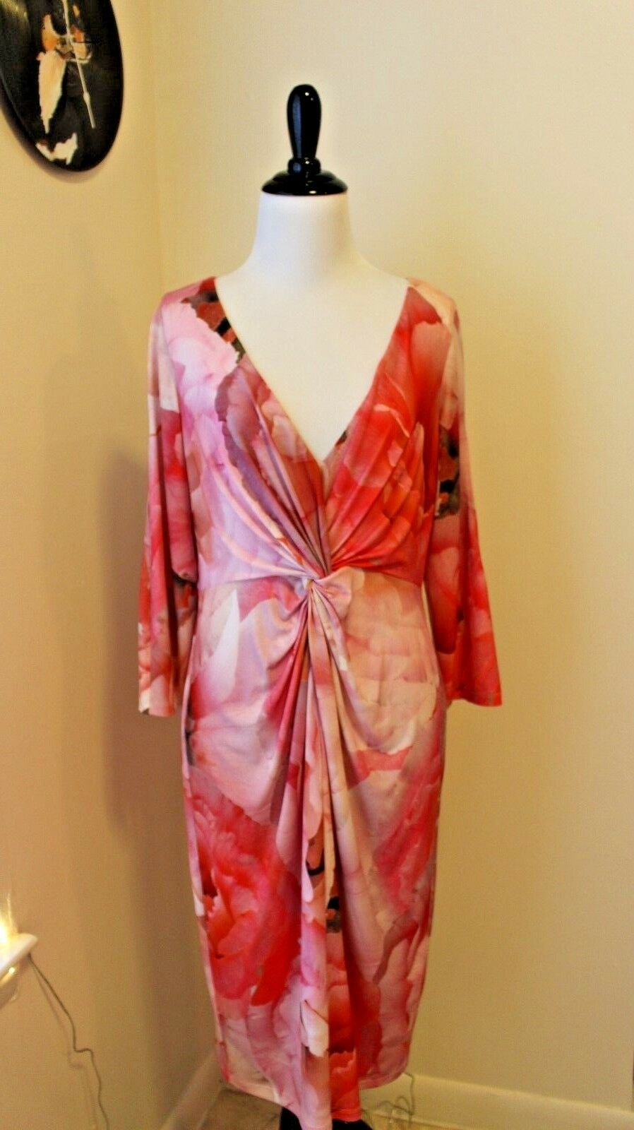Boston Proper 3 4 Sleeve Dress Ruched Pink Floral Midi Size 12 NEW WITH TAGS