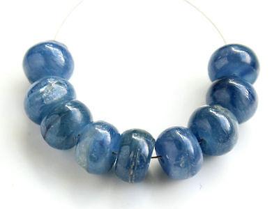 Natural Blue Kyanite Smooth Polish Rondelle Gemstone Beads 8mm.