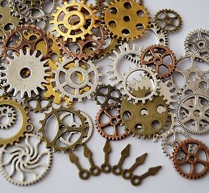 50 metal bronze silver gold steampunk cogs and gears clock hand