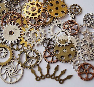 50 Bronze Silber Gold Steampunk Zahnräder Getriebe Uhr Hand Amulett Anhänger Mix