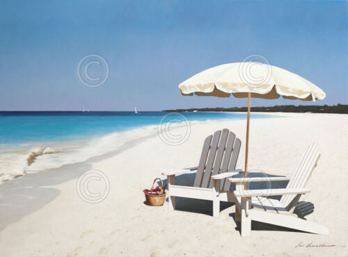 Seaside Picnic by Zhen-Huan Lu Beach Seascape Poster 13x19 COASTAL ART PRINT