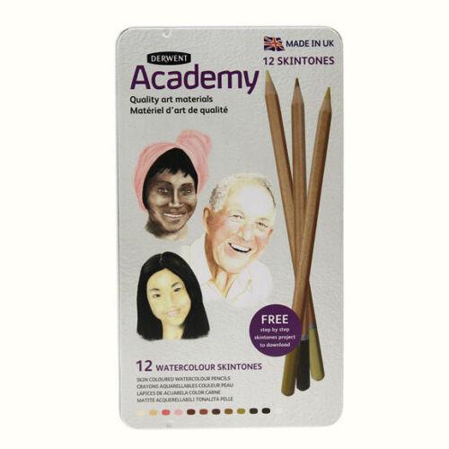 Derwent Academy Watercolour Flesh Skin Tones Pencils - 12 Tin Skintones