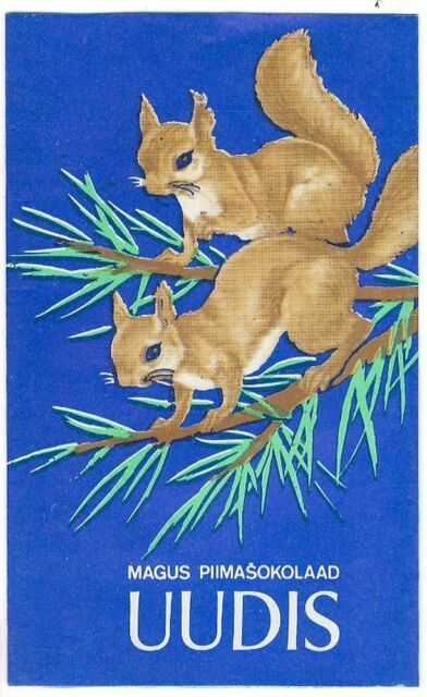 1970s USSR Russia Estonia Vintage Chocolate Wrapper UUDIS NEWS Squirrels Kalev