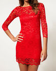 John Zack Red Slash Neck Stretch Scalloped hem Lace Bodycon Mini Dress New 6- 6