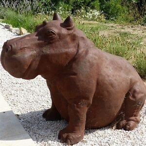 Superbe Image Is Loading Cast Iron Happy Hippo Statue Hippopotamus Garden Statue