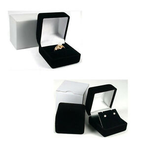 Black Velvet Ring Box or Earrings Box with White Outer Box