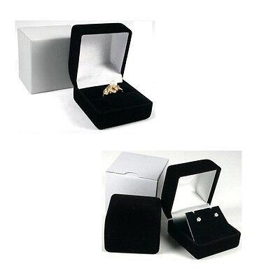 Black Velvet Ring Box or Earrings Box with White Outer Box