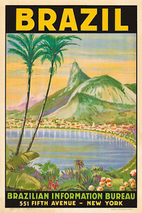 Image Is Loading Vintage Travel Poster Brazil Tropical 1930s Print Rio