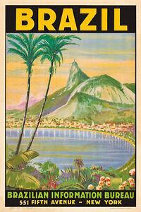 Vintage Travel Poster Brazil Tropical 1930s Print Rio de Janeiro Retro Palm Tree