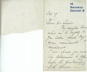 1800s Handwritten Letter E. Millard Miniature Painter 13 Southwick Crescent
