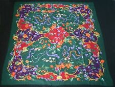 GUCCI Multi Floral on Green Wool Challis Scarf
