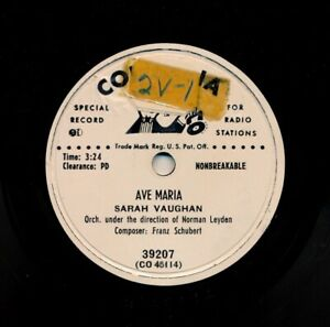 SARAH-VAUGHAN-on-1951-Columbia-39207-Promo-Ave-Maria-City-Called-Heaven