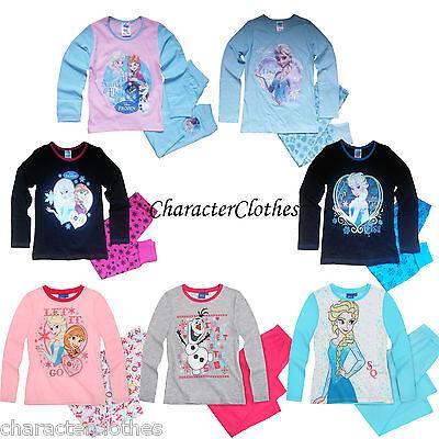 New Girls Character DISNEY FROZEN Long Pyjamas Kids Cartoon Nightwear Age 1-10