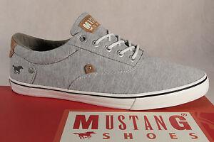 Mustang-Hombre-Textil-Zapatos-de-cordones-gris-claro-suela-de-goma-4103-NUEVO