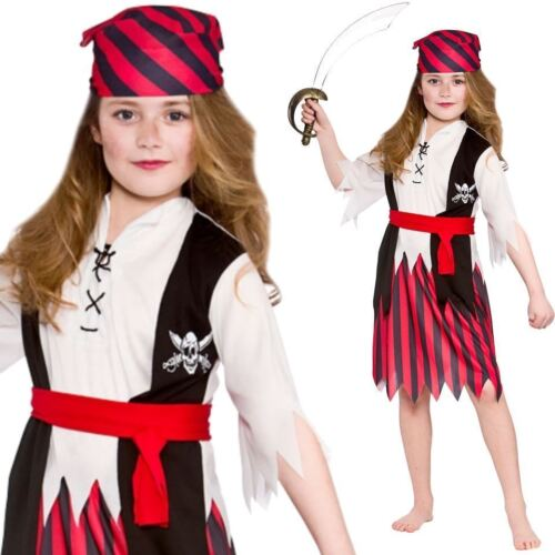 Child Pirate Girl Caribbean Fancy Dress Outfit Kids Book Week Costume Movie New