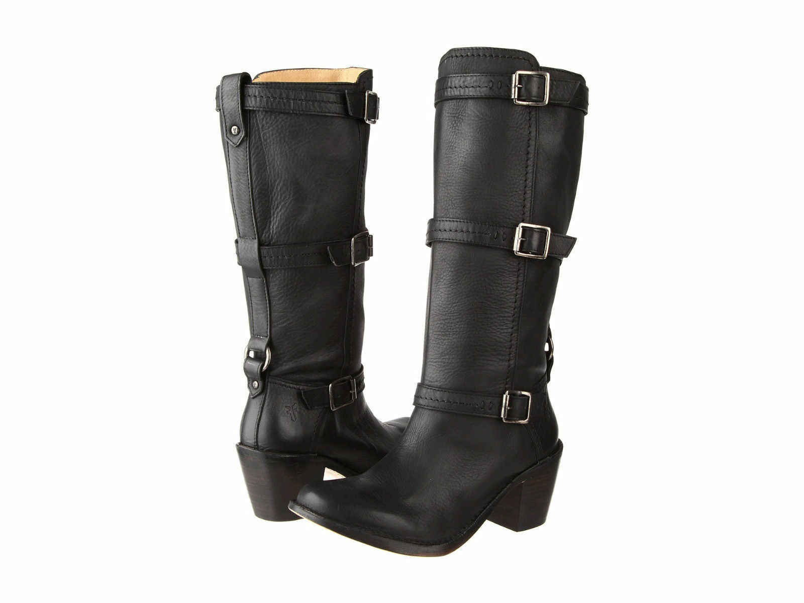 Frye Womens Carmen 3 Strap Black-Brown-Tan Pull-On Fashion Knee-High Boots