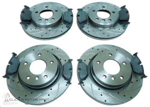 BMW E90 320D FRONT /& REAR GROOVED /& DRILLED BRAKE DISCS MINTEX PADS CHECK SIZE