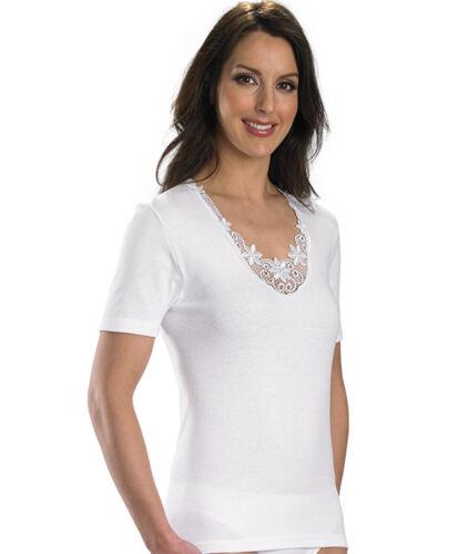Slenderella Ladies 100/% Cotton Short Sleeve Camisole Lace Detail Tank Top Cami