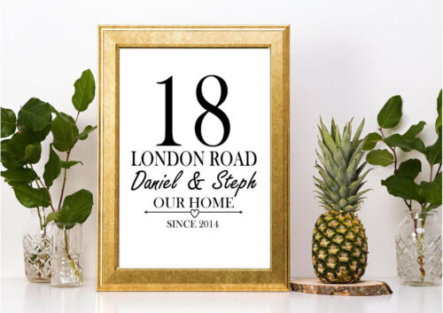 New home gift personalised home a4 print family couple housewarming love