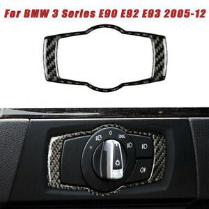 Carbon-Fiber-Headlight-Switch-Panel-Frame-Trim-For-BMW-3Series-E90-E92-E93-05-12