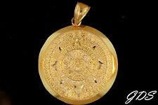 Real Genuine 10K Gold Mayan Aztec Mexican Sun Calender Medallion Pendant Charm