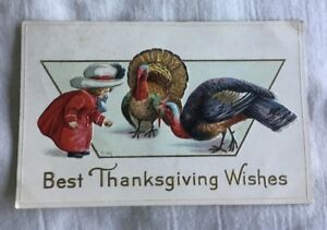 Early-Thanksgiving-Day-Greeting-Postcard-Girl-with-Turkey-Turkeys