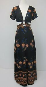 Boohoo-Women-039-s-Nelly-Cut-Out-Border-Print-Floral-Maxi-Dress-US-4-Black-NWT