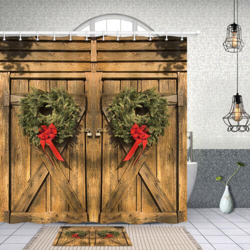 Christmas Pine Branch Ring Shower Curtain Bathroom Decor Fabric /& 12hooks 71 In