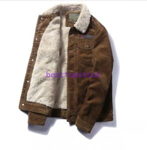 Winter-Mens-Fur-Lined-Fleece-Lining-Lamb-Fur-Collar-corduroy-Coat-Outwear-Jacket