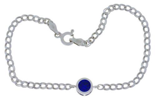 1 Carat Blue Sapphire 6mm Bezel Round Bracelet .925 Sterling Silver