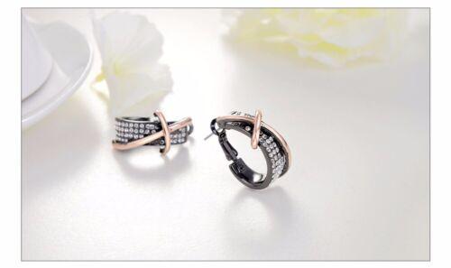 New Designer Black Clear White Sparkly Rhinestones Cross Hoop Earrings Jewellery