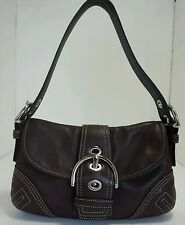 Genuine Brown COACH  Leather Purse SoHo Flap Baguette Handbag # No.F06D-F10188