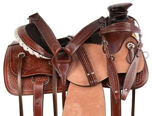WESTERN-WADE-TREE-ROPING-RANCH-HAND-CARVED-SADDLE-HORSE-TACK-SET-USED-15-16