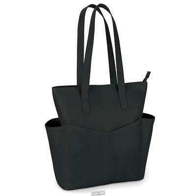 The Lightweight Leather Travel Tote Bag 15 5 H X 13 W D Blk Ebay