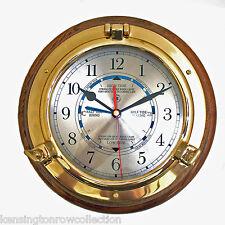CLOCKS - TIME AND TIDE WALL CLOCK - SOLID BRASS PORTHOLE CLOCK - NAUTICAL DECOR