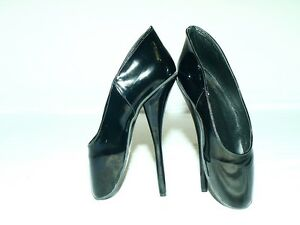 """BLACK-RED PATENT LEATHER BALLET PUMPS SIZE 10-16 HEELS-8,5/"""" POLAND PRODUCER"""