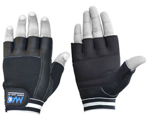 DAM Weight lifting body building gloves Gym Straps Bar Training Cowhide Leather