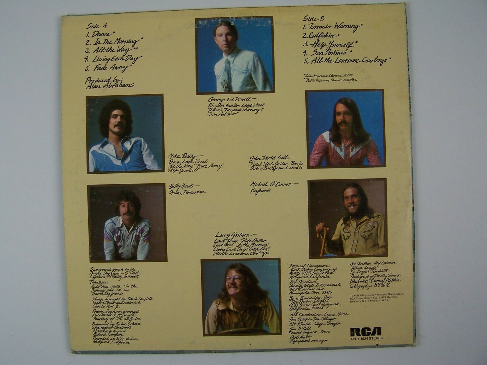 Pure Prairie League - Dance Vinyl LP Record Album APL1-