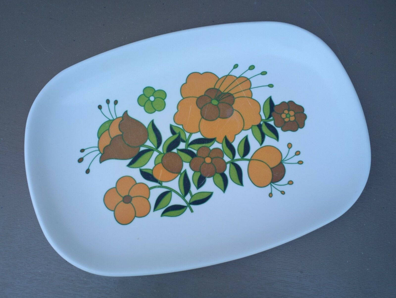 Plat rectangulaire mélamine vintage TEFAL vaisselle camping camping camping FLEUR orange vert #1 593ac0