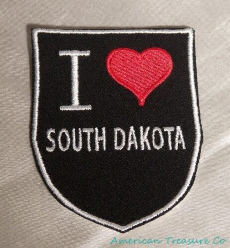 Embroidered Retro Vintage Style I Love South Dakota SD State Patch Iron On USA