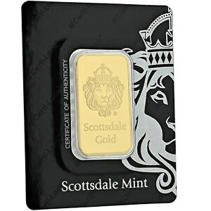 1-oz-9999-Gold-Bar-by-Scottsdale-Mint-in-Certi-LOCK-COA-A389