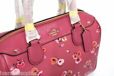 Coach * Mini Bennett Wildflower Satchel Leather Bag in Dahlia Pink Ivanandsophia