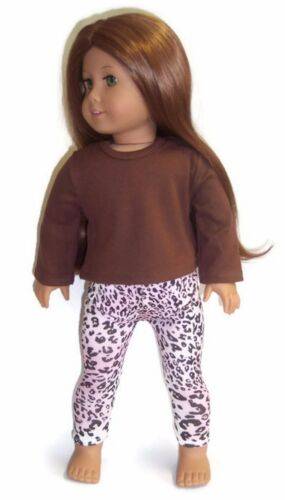 "Brown Top /& Animal Print Legging Pants for 18/"" American Girl Doll Clothes"
