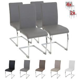 Esszimmerstühle Burano 4er Set Grau Freischwinger Schwing Stuhl