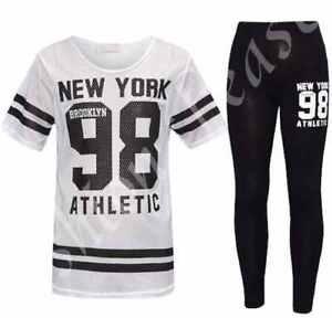 New-Girls-NEW-YORK-98-Net-Tracksuit-Kids-Baseball-Top-amp-Leggings-Age-7-13