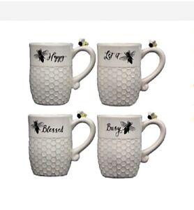 New White Set of 4 HONEY BEE HIVE MUG Coffee Cups Mugs | eBay