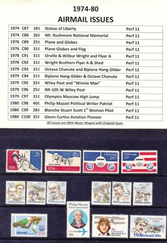 1974-80 Airmail Year Sets Full Years of 14 Stamp Issues MNH OG