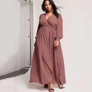Details about Waist Belted Maxi Dress Women Plus Size V-Neck Long Sleeve  A-Line