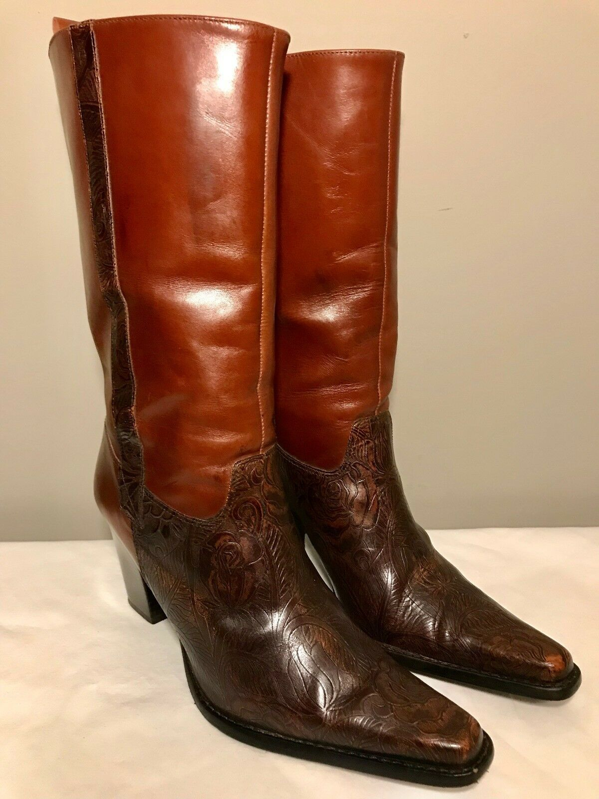 Antonio Melani Dress Cowboy Stiefel Braun Leder Tooled Design High Heels 175
